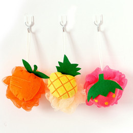 Wholesale Shower Hanging - Creative Cute Bath Flower Fruit Shape Nylon Mesh Foaming Cleaning Body Scrubber Bathroom Wall Hanging Shower Sponge Hot Sale 1 7zh B