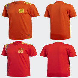 Wholesale Cup Fan - Thailand Quality Spain 2018 World Cup Home Morata ISCO A.INIESTA Soccer Jersey Player version and fans version 18 19 Spain football shirt