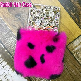 Wholesale Real Diamond Iphone Case - For iPhone X Rex Rabbit Hair Warm Fur Soft Plush Leather TPU Case Real Luxury Bling Diamond Rhinestone Cover For iPhone 8 7 Plus 6 6S