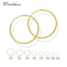 Wholesale Gold Earrings For Kids - Wholesale- Yellow Gold Color Round Circles Endless Hoop Earrings for Women Girls Kids Jewelry Aros boucle d'oreille femme brinco argola