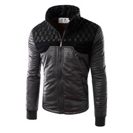 Wholesale Champagne Leather Jacket - Fall-2016 New Arrival Men Patchwork PU Jackets Long Sleeve Stand Collar Plaid Design Leather Jackets High Quality