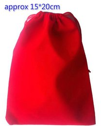 Wholesale Velvet Jewelry Bag Red - Free Ship 100pcs Red High quality Large 15*20cm Velvet Bags Jewelry Bags Wedding Party Candy Beads Christmas Gift Bag
