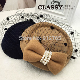 Wholesale Toppers Hats Wholesale - MisS Linda 2016 New fashion Girls Women pearl Topper Woolen gauze beret headdress hair clip Stage hat children hat hair accessories