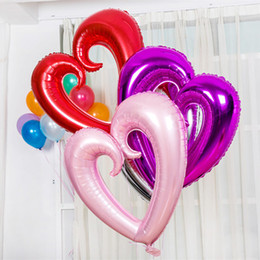 Wholesale Balloons Romantic - 42 inches Valentines Gift Color Balloons LOVE HEART Romantic Wedding Party Decoration Aluminum Foil Balloons SD462