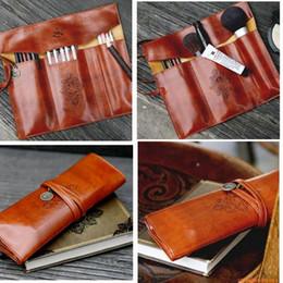 Wholesale Twilight Makeup Case - Vintage Cosmetic Pen Pencil Case Twilight Kit Makeup Brushes Bag PU Leather Travel Make Up Bag Toiletry Organizer Holder