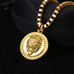 Wholesale Mens High Fashion Necklaces - NEW 18K Gold Plated Lion Head pendants High Quality Fashion Hiphop franco long necklaces gold Chain for mens bijouterie wholesale