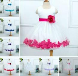Wholesale Bottom Boat - Retail 2015 New Girl Party Dress Flower Belt Petal Bottom Sleeveless Sundress Girl Formal Dress 3-8Y 1104