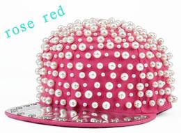 Wholesale Studded Hip Hop Hat - Wholesale-2015 new arrival baseball cap pearls studded cap style dance hats casual rock hip-hop hat snapback baseball hiphop cap flat hat