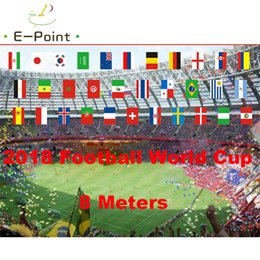 Wholesale Flags Cup - 2018 Football World Cup 32 Countries 14*21cm Size 8 Meters String flag Banner Christmas Decorations for Home Gifts