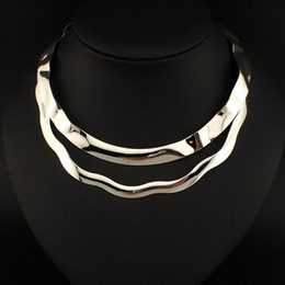 Wholesale Style Bib Necklace - 2015 Punk Style Torques Chokers Bumpy Metal Chunky Bib Collar Necklaces For Women Charm Dress Fashion Accessories #2975