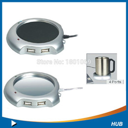 Wholesale Tea Cup Warmer Heater Pad - 2016 Hot 1pc 2016 4 Port USB Tea Coffee Cup Mug Warmer Heater Pad Powered From Hub PC est Free DHL Fedex