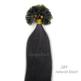 "Wholesale Black U Tip Hair - Brazilian Hair Products 15""-26"" 100s 1B# Natural Black Brazilian Indian Peruvian Malaysian U-tip Nail-hair Virgin Remy Human Hair Extensions"