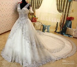 Wholesale Cathedral Swarovski - 2015 New V Neck Zuhair Murad Wedding Dresses Bridal Gown With Sheer Strap Lace SWAROVSKI Crystals Cathedral Train Custom Bridal Gowns