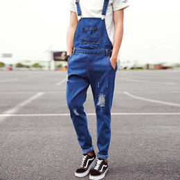 Wholesale Trousers For Summer Cool - Wholesale-Summer Fashion Casual Men's Cool Ripped Hole Blue Denim Overalls Male Jeans Jumpsuits Suspenders Trousers Playsuits For Man