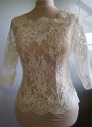 Wholesale Apricot Yellow - Hot Sale Cheap Bridal Wraps Modest Alencon Lace Crystals Wedding Bridal Bolero For Wedding Dresses Long Sleeve Sheer Lace Applique Jacket