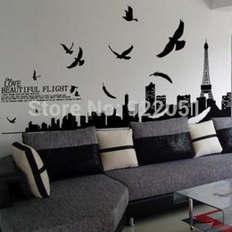 Wholesale Sticker Towers - AY1913 Free shipping wall sticker,home decoration,living room sticker,60*90CM The Eiffel Tower stickers