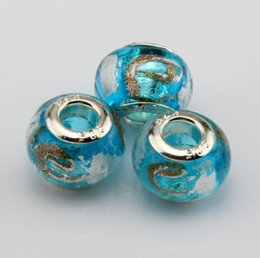 """Wholesale Hot Foils - Hot ! 100 Pcs Sky Blue Gold Silver Foil Alphabet """"e"""" lampwork Glass Large Hole Beads Fit Beaded Bracelet"""