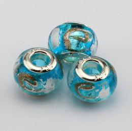 "Wholesale Large Wholesale Beads - Hot ! 100 Pcs Sky Blue Gold Silver Foil Alphabet ""e"" lampwork Glass Large Hole Beads Fit Beaded Bracelet"