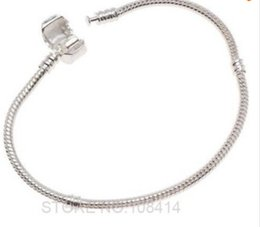 Wholesale Sterling Silver Chamilia Bracelet - Fashion Women European Silver Plated Bracelet & Bangle Snake Chain with Barrel Clasp fit Chamilia Bead Charms
