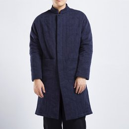 Wholesale Chinese Style Jackets Men - Men Winter Jacquard Linen Cotton Jacket Chinese Style Plus Size Overcoat Male Casual Warm Long Parkas Coat 2018 dongguan_wholesale in stock