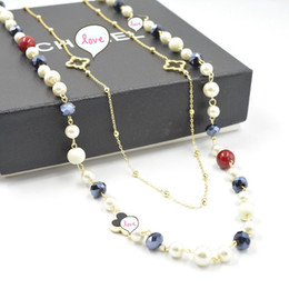 Wholesale Lucky Clover Diamond - Beautiful Fashion Clothes Accessory Beaded Necklaces For Women Lucky Four Leaf Clover Crtstal Pearl Diamond Jewelry Necklace