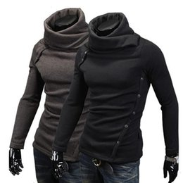 Wholesale Men Korean Sweaters - New 2015 Fashion Korean Style Butoons Design Turtleneck Pullover Men thermal Sweater Casual Long Sleeve Knitwear