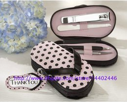 Wholesale Pink Slipper Nail Set - 100sets slipper style Pink Polka Dot Purse Manicure Set Shower Favors Flip Flop Nail scissor Care Pedicure Set, free ship