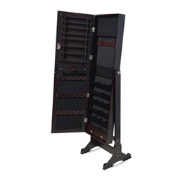 Wholesale Cabinet Wood - Dark Brown Wooden Jewelry Cabinet Armoire Jewelry Organizer with Dressing Mirror Rings Bracelets Holder Stock in USA