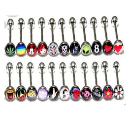 Wholesale body jewellry - Mixed Logo Tongue Bar Tongue Piercing Tongue Rings Barbell Stainless Steel Mixed Size Fancy Body Piercing Jewellry 14g