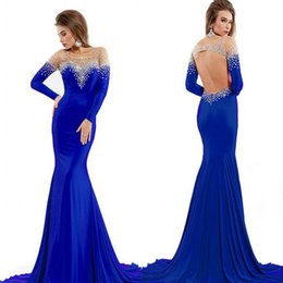 Wholesale Red Sheer Fabric - Gorgeous Royal blue Sheer Top Evening Dresses Long Sleeve Sequins Beaded Mermaid Sweep Train Spandex Fabric Prom Gowns Fast Delivery Party