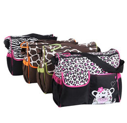 Wholesale Zebra Print Brown - Multifunction Baby Bag Fashion Diaper Bags Mummy Bags Nappy Bags Zebra Giraffe Printed Fashion Infanticipate Bags 4 Colors