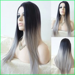 Wholesale Synthetic Two Tone Wigs - Two Tone Ombre Synthetic Lace Front Wigs,Silk Straight Ombre Silver Grey Heat Resistant Hair Lace Wigs,Natural-Black To Grey Lace Front Wigs