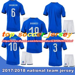 Wholesale Football Jersey Italy - 2018 Italy Adult kits soccer Jersey 17-18 WC national team Russia CHIELLINI EL SHAARAWY BONUCCI INSIGNE IMMOBILE Verratti FOOTBALL SHIRTS