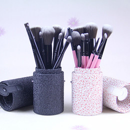 Wholesale Wholesale Leather Pieces - FREE SHIPPING new Arrivals Professional 10 Pieces Makeup Brushes + Leather Peel bucket ( 26 set lot)