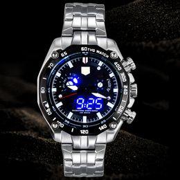 Wholesale Tvg Steel Watch - Sports LED Watch Men's Wristwatch High-end watche TVG Brand Luxury Business Casual Watches Men Fashion Blue Binary Man Watch Stainless Steel