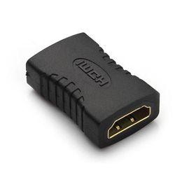 cable de extensión de alimentación Rebajas Adaptador HDMI hembra a HDMI hembra Acoplador negro F / F adaptador extensor Conector chapado en oro para HD TV HDCP 1080P Conectores