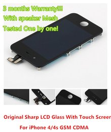 Wholesale Iphone 4s Retina Display - Genuine Retina LCD Display With Touch Screen Digitizer with speaker mesh and LCD Frame Replacement Screen for iphone 4 4g 4s CDMA GSM