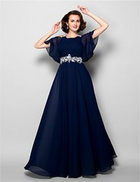 Wholesale Short Dress Multicolor - New Mother of the Bride Dress Jewel Floor-length Applique with Beadings Short Sleeve Chiffon A-line Mother's Dresses