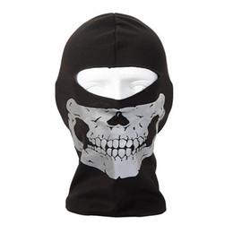 Wholesale Adult Motorcycle Full Face Helmet - Ghost Biker Skull Hood Face Mask Motorcycle Ski Balaclava CS Sport Helmet Snood