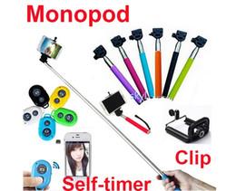 Wholesale Carbon Camera - Free DHL Extendable Handheld Self portrait Monopod selfie stick Bluetooth Shutter Camera Remote Control monpod + shutter + clip
