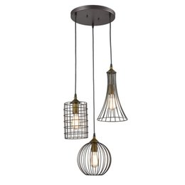 Wholesale Bronze Art Deco Lamps - Industrial Edison Led 3 Pendant Lamp Lighting Antique 3-lights Oil Rubbed Bronze Chandelier with Wire Cage
