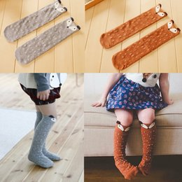 Wholesale Wholesale Baby Toddler Socks - Lovely 3D Fox Baby Leg Warmers stocking Socks For Children Boys Girls Non-slip Cotton Kid Clothing Toddler Boot Socks FOX