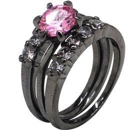 Wholesale Ring Pink Topaz - Size 5-11 Black Wedding Ring Solitaire Engagement Three-in-One Bride Cocktail Topaz Pink Crystal