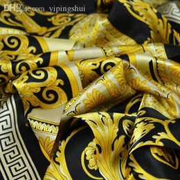 Wholesale Scarf Soft Woman - Wholesale-The famous style 100% silk scarves of woman and men solid color gold black Neck print soft fashion Shawl women silk scarf square