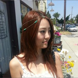 Wholesale Headdress Turquoise - new 2015 Bohemian turquoise hairband hair hoop headdress bride Headbands wedding party Hair jewelry
