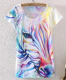 Spandex de impressão colorido on-line-2015 verão novo Colorido zebra 3d impresso de manga curta o pescoço fino T-shirt Mulheres Moda Tops tamanho grande