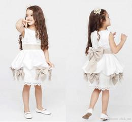 Wholesale Ribbon Flower Appliques - 2015 Cheap Lovely Kids Ball Gowns Bateau Ribbon Bows Lace Appliques Zipper Back Knee Length Kids Prom Dresses Cute Flower Girl Dress