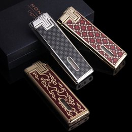 Wholesale Thin Butane Lighter - Fast Shipping High Quality Brand Ultra Thin Unique Lady Man Windproof Butane Gas Lighter Cigarette Lighter