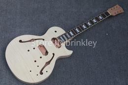 Guitarra elétrica corpo inacabado on-line-Brinkley Atacado de Alta Qualidade Da Guitarra Elétrica Kit DIY Conjunto de Mogno Rosewood Fingerboard Guitarra kits, guitarra Inacabada