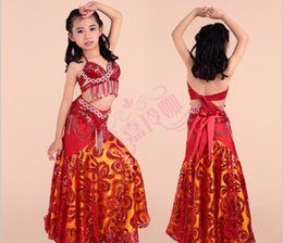 Wholesale Long Rosette Skirt - Baby's performance clothing,belly dance bars and skirt,dance clothes,stage wears for babies girls,1 set include bra,long dress,waist sealing